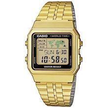 Casio Collection forgyldt rustfri stål quartz multifunktion (3437) Herre ur, model A500WEGA-1EF