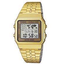 Casio Collection forgyldt rustfri stål quartz multifunktion (3437) Herre ur, model A500WEGA-9EF