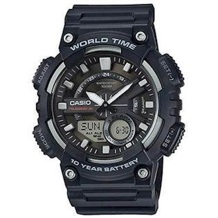 Casio Classic sort resin med stål quartz multifunktion 5479) Herre ur, model AEQ-110W-1AVEF