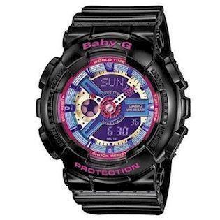Casio Baby-G sort resin med stål quartz multifunktion (5338) Dame ur, model BA-112-1AER