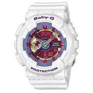 Casio Baby-G hvid resin med stål quartz multifunktion (5338) Dame ur, model BA-112-7AER
