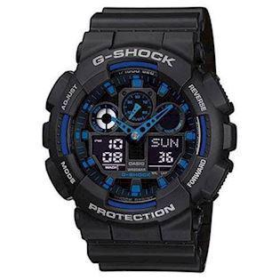 Casio G-Shock sort resin med stål quartz multifunktion (5081) Herre ur, model GA-100-1A2ER