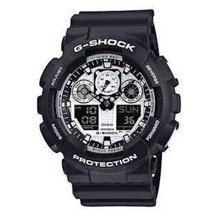 Casio G-Shock sort resin med stål quartz multifunktion (5081) Herre ur, model GA-100BW-1AER