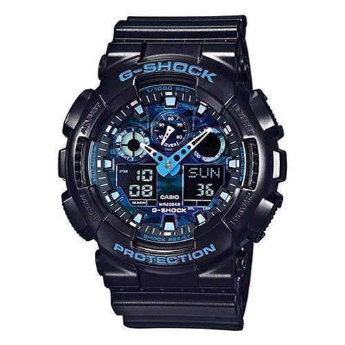 Casio G-Shock sort resin med stål quartz multifunktion (5081) Herre ur, model GA-100CB-1AER