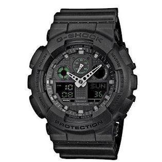 Casio G-Shock sort resin med stål quartz multifunktion (5081) Herre ur, model GA-100MB-1AER