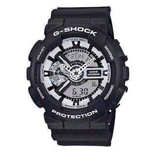 Casio G-Shock sort resin med stål quartz multifunktion (5146) Herre ur, model GA-110BW-1AER