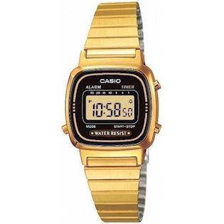 LA-670WEGA-1EF Casio Collection dameur<br>forgyldt stål med sort urskive
