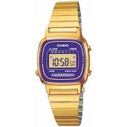 LA-670WEGA-6EF Casio Collection dameur<br>forgyldt stål med lilla urskive