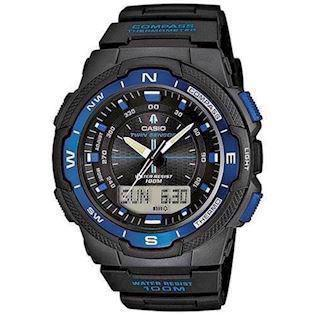 Casio Collection / Pro-Trek sort resin med stål quartz multifunktion (5269) Herre ur, model SGW-500H-2BVER