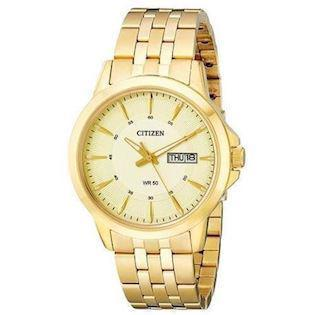 Citizen  forgyldt rustfri stål quartz med Eco-Drive Herre ur, model BF2013-56P