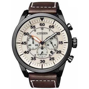 Citizen Chrono mat sort rustfri stål quartz med Eco-Drive Herre ur, model CA4215-04W