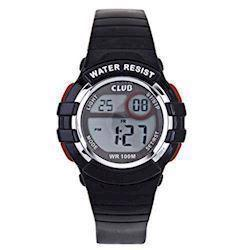 Club Time Club Time Sort Gummi Quartz Drenge ur, model A47101SS5E