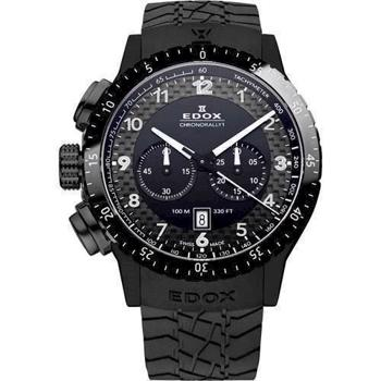 Edox Chronorally 1 IP sort matteret rustfri stål Swiss Quartz med chronograph Herre ur, model 10305-37N-NN