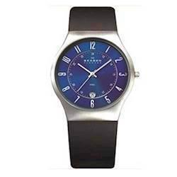 Skagen Steel / Leather Kollektion, med blå urskive,  Herre ur, 233XXLSLN