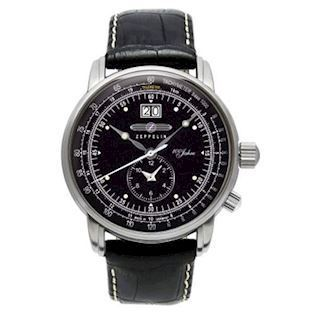 7640-2 Zeppelin 100 års Jubilæums model<br>Dual time, sort urskive og sort rem