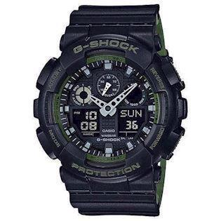 Casio G-Shock mat sort resin med stål quartz multifunktion (5081) Herre ur, model  GA-100L-1AER