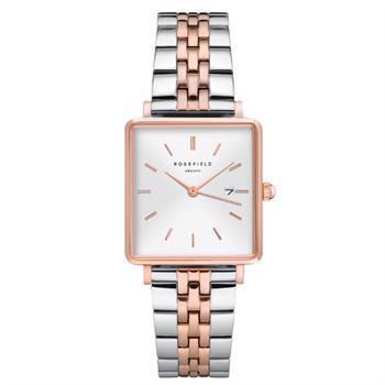 Rosefield The Boxy Collection blank stål / rosa Miyota quartz dame ur, model QVSRD-Q014