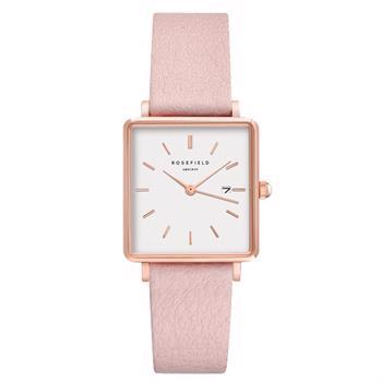 Rosefield The Boxy Collection rosa forgyldt stål Miyota quartz dame ur, model QWPR-Q11