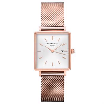Rosefield The Boxy Collection rosa forgyldt stål Miyota quartz dame ur, model QWSR-Q01