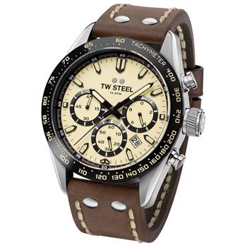 TW Steel 46 mm Creme hvid Swiss multifuntions quarts med chrono Herre ur, model CHS2