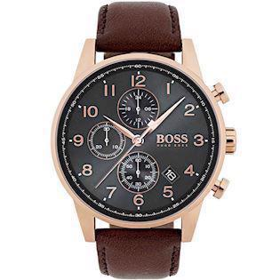 Hugo Boss Navigator Chronograph IP rosaforgyldt quartz herre ur, model 1513496