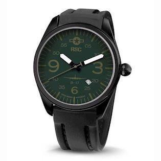 RSC Pilot Watches B-17 Flying Fortress IP sort stål Ronda quartz herre ur, model RSC2120